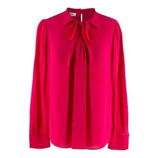Valentino Pink Silk Self-Tie Collar Ribbon Blouse