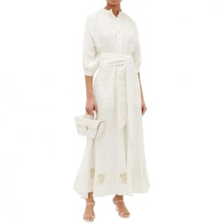 �cheval Pampa Valia floral-embroidered linen-blend dress