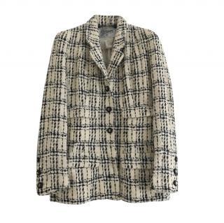 Chanel 1995 vintage Ecru/Black Tweed Blazer Jacket