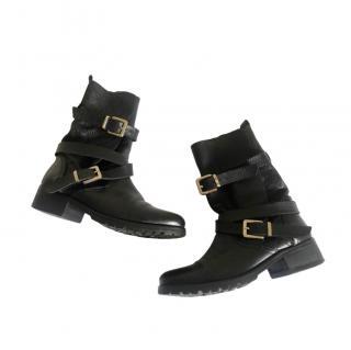 Maje Buckle Wrap Leather Biker Boots