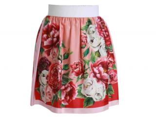 Dolce & Gabbana High Waist Pink Floral Skirt