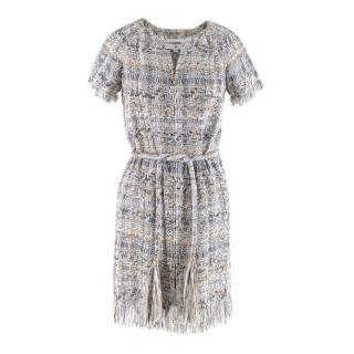 Chanel Fantasy Tweed Fringed Belted Zip Front Dress