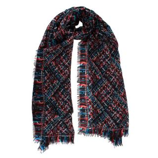 Chanel Black Red & Blue Tweed Print Cashmere CC Shawl
