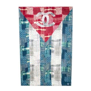 Chanel Turquoise Cuba Collection Printed Silk Scarf