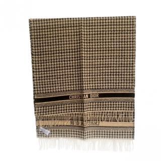 Christian Dior Beige & Black Houndstooth Large Wrap Shawl 230cm x 70cm
