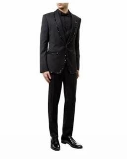 Dolce & Gabbana Crystal Embellished Black Wool Three Piece Suit