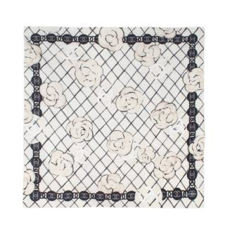 Chanel Ivory Camellia Printed Silk Square Scarf