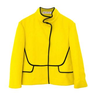 Marni Yellow Wool Blend High Neck Jacket