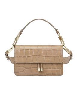 Chylak Glossy Beige Croc Embossed Leather Shoulder Bag