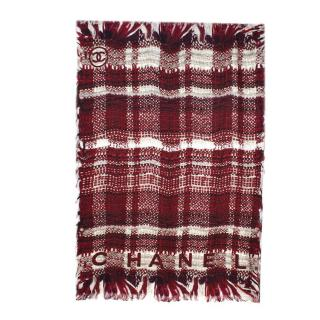 Chanel Red & White Tweed Print Silk Shawl