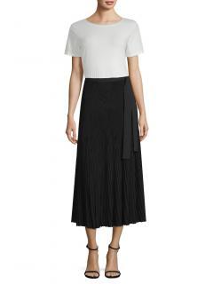 Weekend Max Mara Black Pleated Nias Midi Skirt