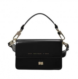 Chylak Black Glossy Leather Shoulder Bag