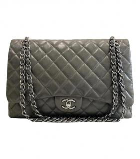 Chanel Grey Quilted Leather Maxi Flap Bag