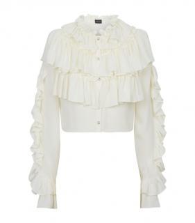 Magda Butrym Cream Silk Ruffled Blouse