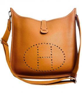 Hermes Clemence Leather Caramel Evelyne GM