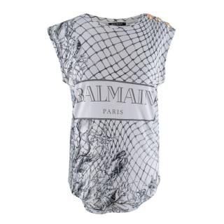 Balmain Grey Fishing Net Print Vest