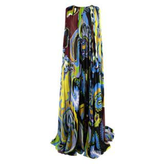Emilio Pucci Blue Sheer V-Back Pleated Gown