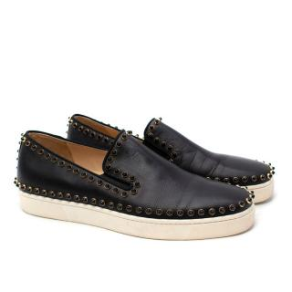 Christian Louboutin Black Leather Studded Slip Trainers