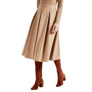 Max Mara Camel Hair Pleated Midi Skirt