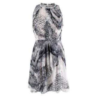 Reiss Grey Snake Print Ruffled Dress