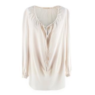 Saint Laurent Cream Sheer Silk Drawstring Blouse