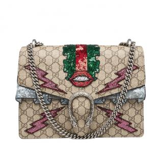 Gucci Supreme Canvas Embroidered Sequin Medium Dionysus Shoulder Bag