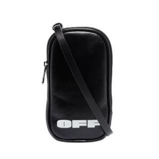 Off-White Black Logo Print Leather iPhone Holder