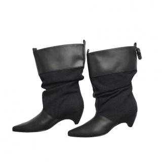 Stella McCartney Black Faux Leather & Canvas Slouchy Boots