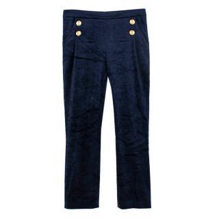 Pierre Balmain Blue Button Detail Velvet Trousers