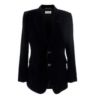 Saint Laurent Black Velvet Single Breasted Tailored Jacket