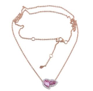 William & Son 18ct Rose Gold Sapphire & Diamond Double Pear Pendant