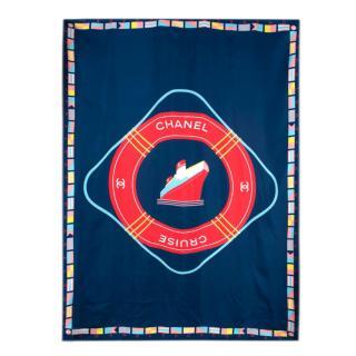 Chanel Red & Blue CC Cruise Silk Scarf