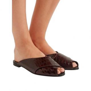 Trademark Brown Croc-embossed Leather Slide Sandals