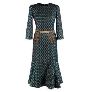 Dolce & Gabbana Blue & Gold Embellished Brocade Dress