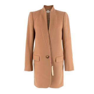 Stella McCartney Camel Wool-Blend Single Breasted Coat