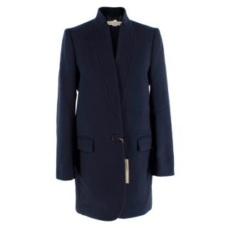 Stella McCartney Navy Wool-Blend Single Breasted Coat