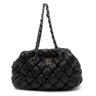 Chanel Black Bubble Quilt Bowler Camera Case Bag