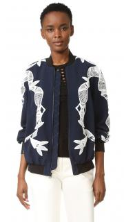 Jonathan Simkhai Navy Lace Embellished Bomber Jacket