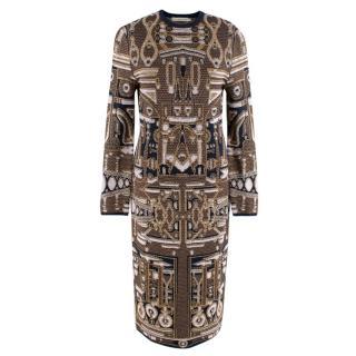 Mary Katrantzou Navy & Gold Jacquard Knit Midi Dress