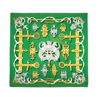 Hermes Ferronnerie Print Green Silk Scarf 90