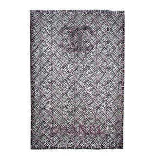 Chanel Black Grey & Pink Tweed Print Cashmere CC Shawl