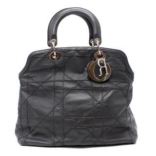 Christian Dior Granville Grey Cannage Leather Handbag