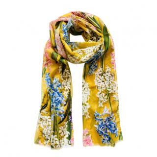 Dolce & Gabbana Yellow Floral Print Wrap Scarf