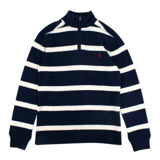 Polo Ralph Lauren Navy Striped Cotton Zipped Jumper