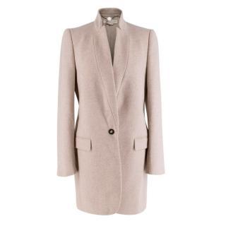 Stella McCartney Beige Wool-Blend Single Breasted Coat
