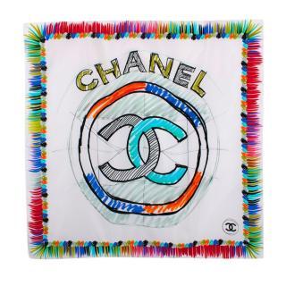 Chanel White CC Sketch Print Silk Scarf 90