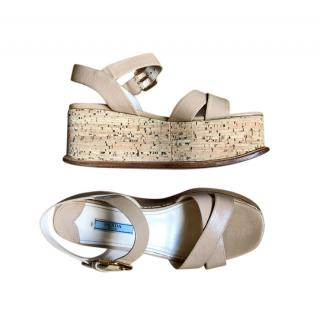Prada Nude Cork Platform Sandals