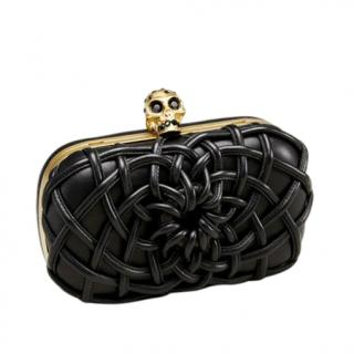 Alexander McQueen Black Woven Leather Skull Clutch