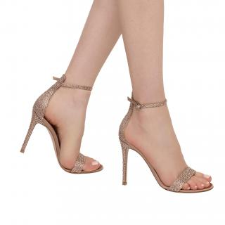 Gianvito Rossi Crystal Embellished Satin Glam Sandals