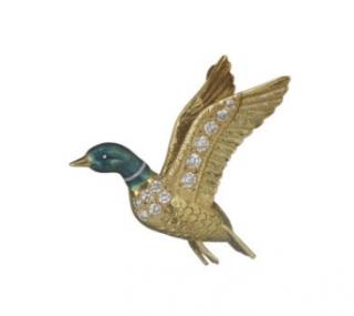 William & Son 18ct Gold Diamond Flying Mallard Brooch